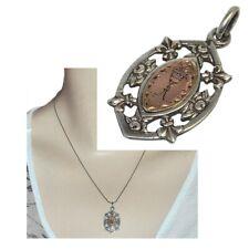 Pendentif ancien médaille communion Argent 925 or 18 carats Fleur de Lys bijou