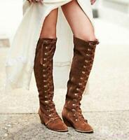 Womens Cowboy Lace Up Zip Vintage Suede Cuban Heel Knee High Knight Boots Shoes
