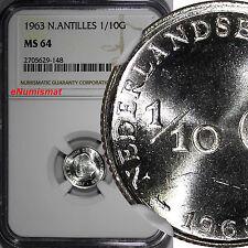 Netherlands Antilles Juliana Silver 1963 1/10 Gulden Mint-900,00 NGC MS64 KM# 3