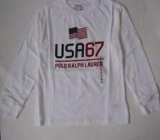 POLO RALPH LAUREN Boys' Graphic Tee Shirt Long Sleeves White USA Flag Small 8