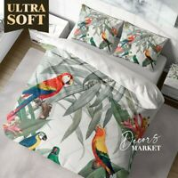 Parrots Branches Animals Birds Quilt Cover Doona Duvet Cover W 2 Pillowcases