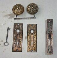 Antique Set EASTLAKE VICTORIAN Backplates Door Knobs Mortise Lock w/ Key