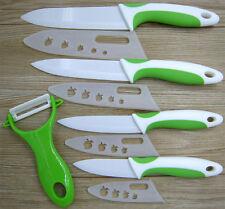 """Green&White Ceramic Knife Set Kitchen Chef Fruit Knives 3"""" 4"""" 5"""" 6""""+peeler+Cover"""