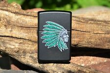 Zippo Lighter - Indian Head - Headdress - Turquoise - Feathers - Chief - 28916