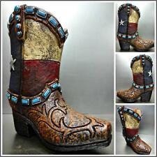 Western Rustique Texas Drapeau Cowgirl Botte Grande Décoration Vase Turquoise