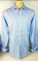 Mens Tommy Hilfiger Long Sleeve Button Front Dress Shirt Blue Striped Sz XL 17