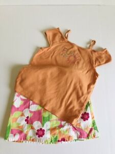 Gymboree Spring Fun Orange T Shirt Tank Top Fun in the Sun Floral Skort Size 7
