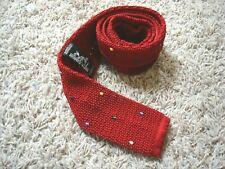 Hermes Silk Knit Neck Tie Red Multi-color Polka Dots Tricot de soie Likenew