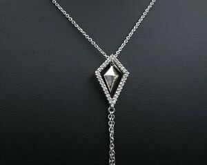 """18k White Gold Articulated Natural Diamond Kite Halo Lariat Necklace 16"""" NG499"""
