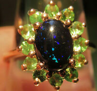 Ring 54, schwarzer Opal, Silber,