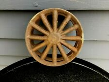 Vintage cast iron industrial farm small spoked wheel rusty steampunk repurpose