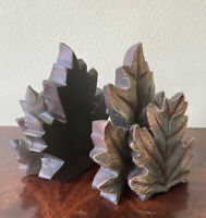 """MAPLE LEAF BOOKENDS Pair Heavy Resin Brown and Green Home Decor 7"""" Tall EUC"""