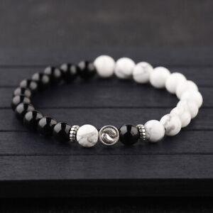 Women Men Yin Yang Bracelets Bright Agate White Howlite Beaded Bracelets Gifts
