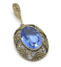 Pendente Stile Liberty Argento Placcato Oro 835 con Bella Topazio Blu, 4,0 G