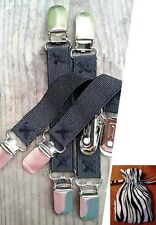 2 Pairs Black Elastic Pant Clips Boot Straps w/Pouch Keep Pants in Boots Neatly!