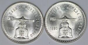 Lot Of 2x GEM UNC 1980 Mexico Scale Onza Casa De Moneda No Reserve Auction B215
