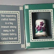 GANZ PORCELAIN THIMBLE flower month collectible Lownds Pateman September Aster