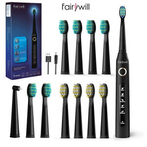 Electric Toothbrush Sonic Rechargeable Adults Kids Fairywill 12X Brush Heads USB