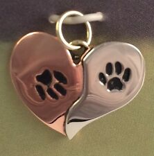 Double Paw Print Ying Yang Pendant ONLY Cat Dog Adoption 10% Donated -Gift Boxed