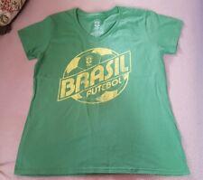 NEW Size Large CBF Brasil Official Soccer Team Logo Soft Green Futbol T-Shirt