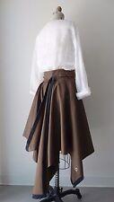 Marni Brown Stretch Cotton Twill Asymmetrical Wrap Skirt Sz IT40