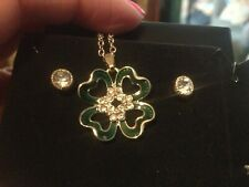 New~Green Four Leaf Clover Necklace & Rhinestone Earrings ~St.Patricks Day~Boxed