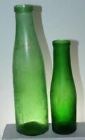 Lot of 2 Vintage Pickle caper Jars Bottles Green Emerald Food Bottle C&D Blown