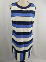 Piazza Sempione Womens 42 Cotton Linen Blue Striped Dress Italy Made Sleeveless
