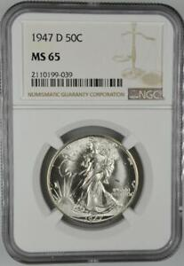 1947-D Walking Liberty Half Dollar NGC MS 65 No Reserve Auction 99C Opening Bid