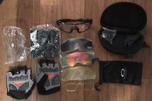 Oakley Jaw Breaker Cycling Glasses, 4 Lenses, Skull Mask, Maidilong Gloves, Case