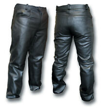 GTH BLACK LEATHER MOTORCYCLE BIKER JEANS, FULLY LINED [54016]