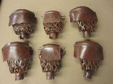 Antique Walnut Diamond Pattern Leather Pool Table Pockets w/ Shield Set of 6