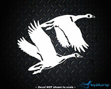 Geese Flying Canadian Hunting Goose Car Decal / Laptop Sticker - White 5""