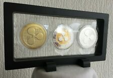 3x Ripple XRP Gold/Silver Plated Crypto Coin. In 3D Floating Display Stand