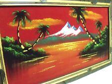 Vintage Mexican Sunset Painting on red Velvet, original framed wall art 20x11