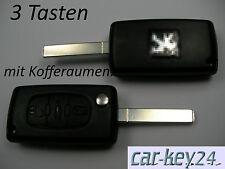 Peugeot Partner RCZ 208 207 307 407 607 Klappschlüssel Fernbedienung 3 Tasten Ne
