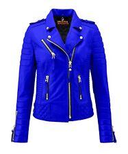 Women's Retro Fashion Motorbike Leather Jacket Vintage Top Quality Royal Blue