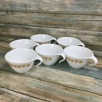 Set of 4 Corelle Butterfly Gold Hook Handle coffee Cups