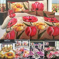 3D Effect Bedding Set Duvet Cover+Fitted Sheet Floral Printed 4Pc Complete Set