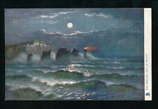 Hampshire ISLE OF WIGHT The Needles Rough Sea at night Tuck Oilette #1489 PPC