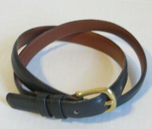 Vintage COACH Navy Skinny Leather Belt #2800 Brass Buckle USA Women's