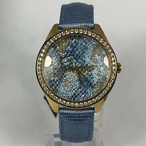 GUESS Rose Gold w/Crystal Bezel Blue Band Classic Analog Quartz Women's Watch