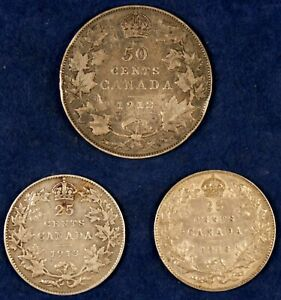 1912-1918 25c & 50c Canada Silver Quarter/Half Dollars - 3 Coins as Shown