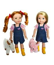 On the Farm Set + Plush Animals for Wellie Wisher Dolls 14.5 Inch Doll Clothes