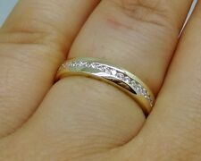 R510- Genuine 9ct Yellow Gold Natural Diamond Half Eternity Wedding Ring size P