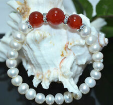 7-8MM White Akoya Cultured Pearl & 10/12MM Natural Red Jade Bracelet 7.5'' Y3368