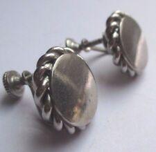 boucles d'oreilles à vis vintage déco relief couleur argent silvers tone 1780