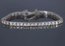 $15,000 Vintage 14k White Gold 4.00ct G VS1 Diamond Safety Chain Tennis Bracelet