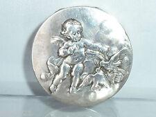 Antico Francese solido argento CHERUB COLOMBA UCCELLI pill box