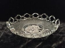 """IMPERIAL GLASS Laced Rim Frosted Intaglio Rose Pressed Diamond Pattern 8"""" Bowl"""